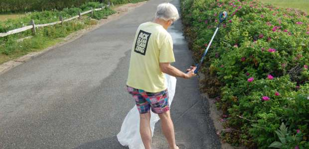 Mr. Connell himself scouring Codfish Park Road for errant trash.