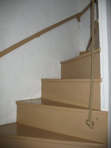 Original stairs with rope banister, Hussey Street, Nantucket