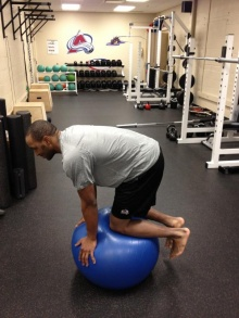 Now try just having your hands and knees touching the ball.  See if you can support yourself and balance doing that while keeping your core tight.
