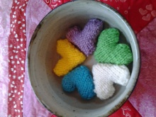 Multicolor knitted hearts
