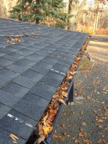 Gutter full of leaves. If you have not cleaned them out yet, this is how yours look