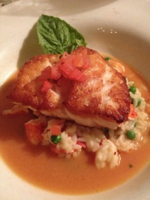 Grouper with pea risotto at Hank's
