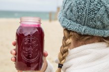 Locally made beet juice for a cleanse