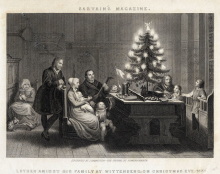 Martin Luther's Christmas Tree, from steel engraving in Sartain's Magazine, 1860
