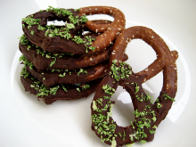 chocolate dipped pretzels with lime zest