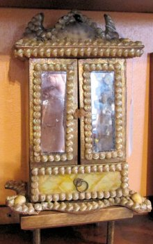 Victorian Shell-decorated Box in the form of a Miniature Mirrored Armoire, from Nantucket Antiques Depot