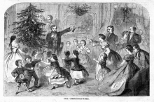"""Winslow Homer Woodblock Engraving """"The Christmas Tree"""" from Harper's Weekly, 1858"""