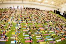 Gillette Stadium's Field House Filled with community focused yogis