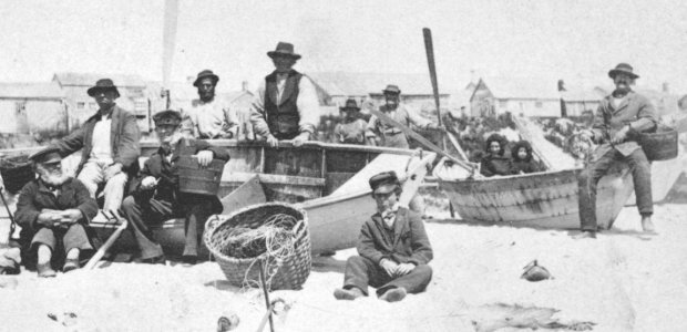 Dory Fisherman in Siasconset.  Photograph Courtesy of the Nantucket Historical Association.