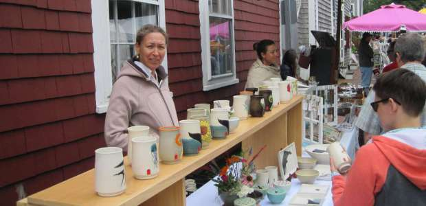 Nell Van Vorst's beautiful, unequalled pottery at Sustainable Nantucket's Farmers & Artisans Market.