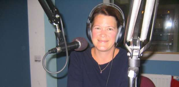Joanna Roche in the radio studio
