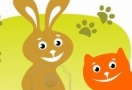 Cat and rabbit cartoon