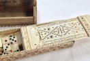 18th C.  Prisoner of War Carved Bone Game Box and Snuff Box