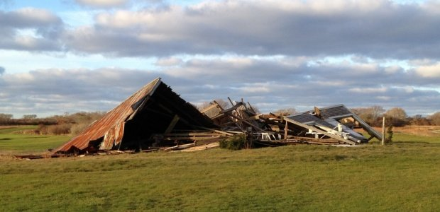 Destroyed barn at Sconset golf course