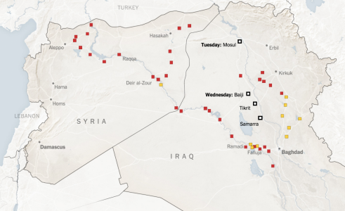 Iraq and Syria map courtesy NYTimes