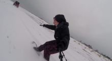 Ocean Kane Snowboarding on Nobadeer Beach, March 2015