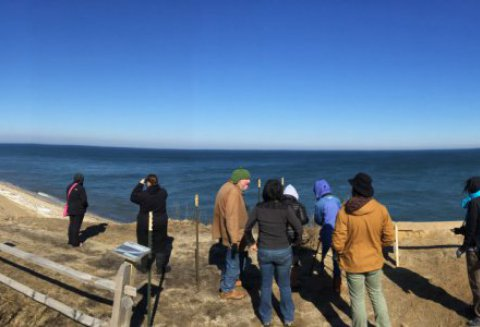 Six of UMass' finest taking in wild Nantucket with Vern Laux off of Baxter Road.