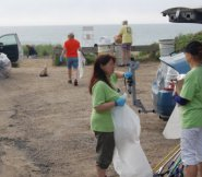 Nantucket Clean Teamers getting their assignments and cleaning gear at Codfish Park.