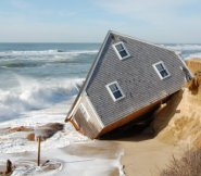A house on Sheep Pond Road in Madaket loses its battle with the ocean.