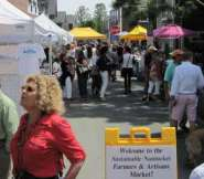 The alway busy Sustainable Nantucket Farmers & Artisans Market.