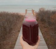 A jar of cleansing beet juice