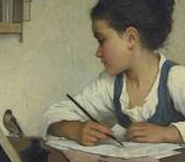 Painting of a Child Writing