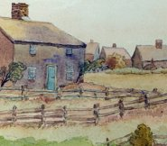Watercolor of Nantucket's Oldest House showing other houses nearby