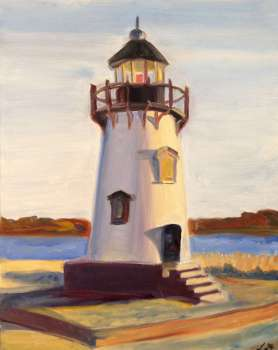Lily Dolin painting of Edgartown lighthouse, Martha's Vineyard