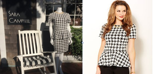 Peplum top, $158, and pencil skirt, $148
