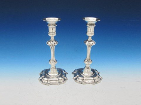A Pair of Dublin Silver Candlesticks, Isaac Dolier, 1750