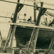 A much later boat being worked on, ca. 1925, at South Beach Boatyard.  Photograph courtesy of the Nantucket Historical Association.